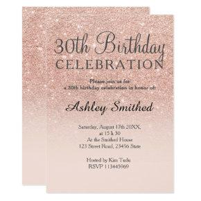 Rose gold faux glitter pink ombre 30th birthday invitation