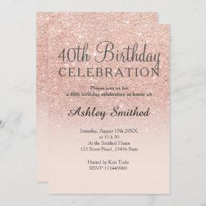 Rose gold faux glitter pink ombre 40th birthday invitation