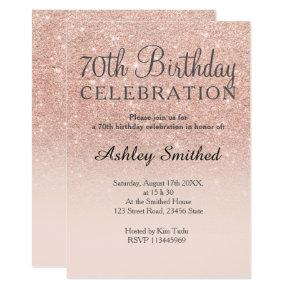 Rose gold faux glitter pink ombre 70th birthday invitation
