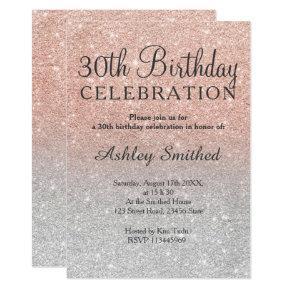 Rose gold faux glitter silver ombre 30th birthday Invitations