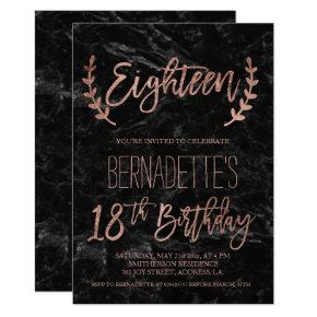 Rose gold feathers black marble 18th Birthday Invitations