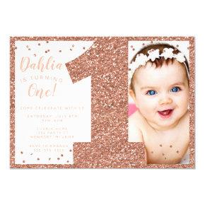 Rose Gold First Birthday Invitation, Faux Glitter Invitation