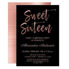 Rose Gold Foil and Black Sweet Sixteen Birthday Invitation