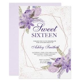 Rose gold frame purple floral watercolor Sweet 16 Invitation