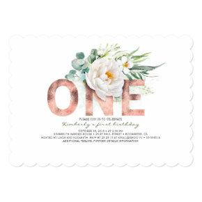 Rose Gold Glitter and White Flowers 1st Birthday Invitation