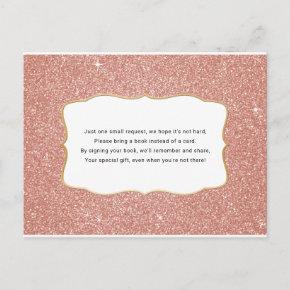 Rose Gold glitter baby shower book request