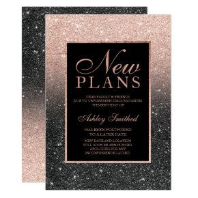 Rose gold glitter black elegant chic new plans invitation