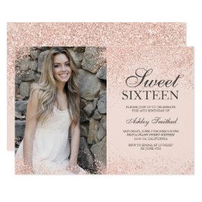 rose gold glitter chic blush pink photo Sweet 16 Invitation