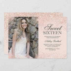 rose gold glitter chic blush pink photo Sweet 16 Invitation
