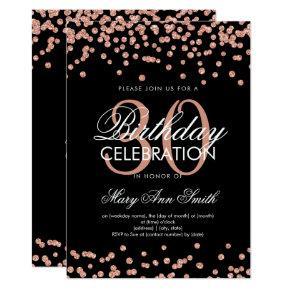 Rose Gold Glitter Confetti 30th Birthday Black Invitations