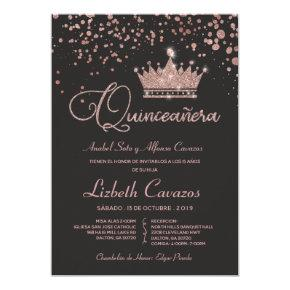 Rose Gold Glitter Confetti Spanish Quinceanera Invitation