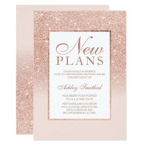 Rose gold glitter elegant chic new plans invitation