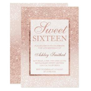 Rose gold glitter elegant chic Sweet 16 snow Invitation