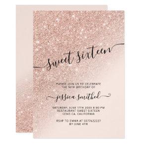 rose gold glitter elegant chic typography Sweet 16 Invitation