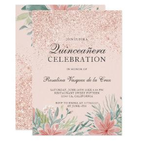 Pink Gold 15th Birthday Invitations Candied Clouds
