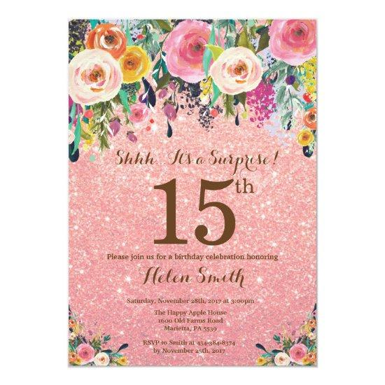 rose gold glitter floral surprise 15th birthday invitations