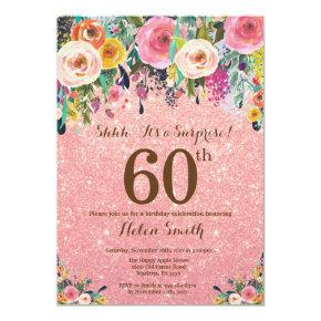 Rose Gold Glitter Floral Surprise 60th Birthday Invitation
