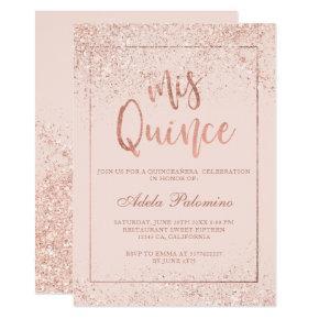 Rose gold glitter frame script blush Quinceañera Invitation