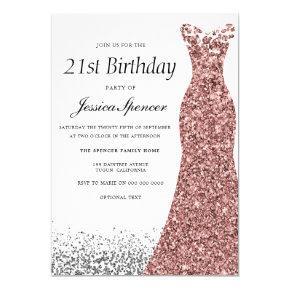 Rose Gold Glitter Girls 21st Birthday Party Invitation