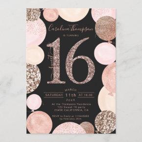 rose gold glitter gray balloon Sweet 16 photo Invitation