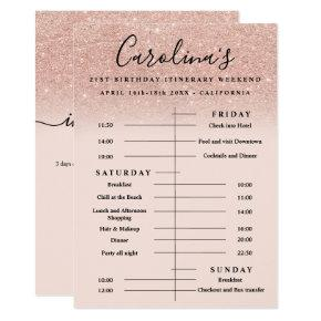 rose gold glitter itinerary 21st birthday weekend invitation