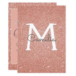 Rose Gold Glitter Monogram Sparkle Quinceanera Invitation