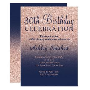 Rose gold glitter navy blue ombre 30th birthday invitation