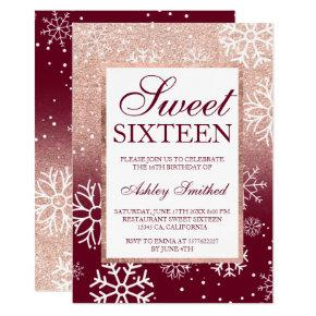 Rose gold glitter ombre burgundy snow Sweet 16 Invitations