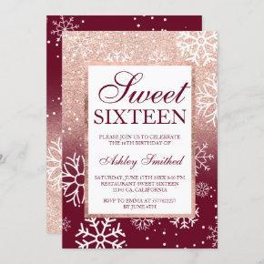 Rose gold glitter ombre burgundy snow Sweet 16 Invitation