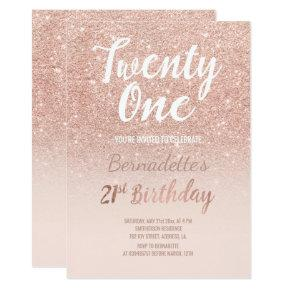 Rose gold glitter ombre script chic 21st Birthday Invitation