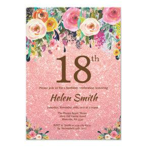 Rose Gold Glitter Pink Floral 18th Birthday Invitation