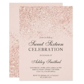 Rose gold glitter sparkles blush sweet sixteen invitation