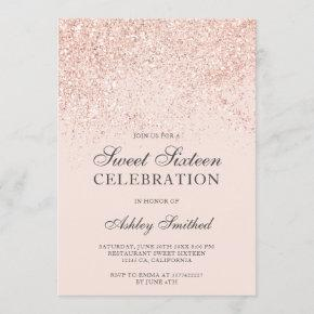 Rose gold glitter sparkles blush sweet sixteen invitation