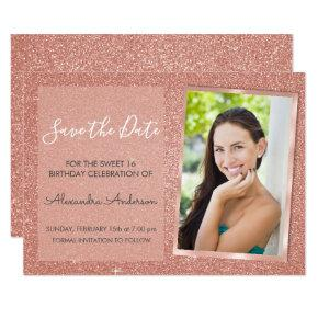 Rose Gold Glitter Sweet 16 Save the Date Invitation