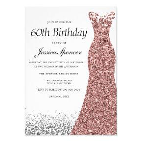 Rose Gold Glitter Womans 60th Birthday Party Invitation