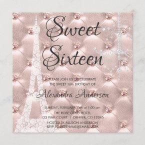 Rose Gold Paris Sweet Sixteen Birthday Party Invitation