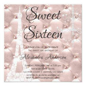 Rose Gold Paris Sweet Sixteen Birthday Party Invitation