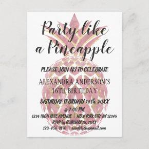 Rose Gold Party Like a Pineapple Birthday Invitation Post