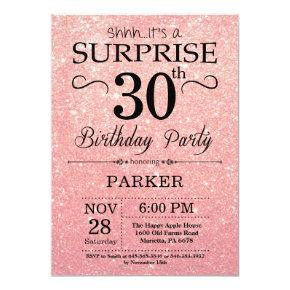Rose Gold Pink Glitter Surprise 30th Birthday Invitation