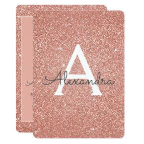 Rose Gold - Pink Glitter Sweet Sixteen Birthday Invitation