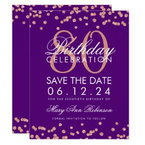 Rose Gold Purple 80th Birthday Save Date Confetti Invitation