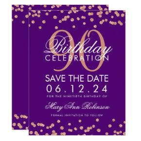 Rose Gold Purple 90th Birthday Save Date Confetti Invitation