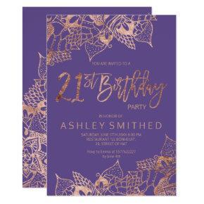 Rose gold purple mandala typography 21st birthday invitation