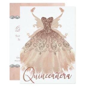 Rose Gold Quinceanera Sparkle Gown Pixie Wings Invitation
