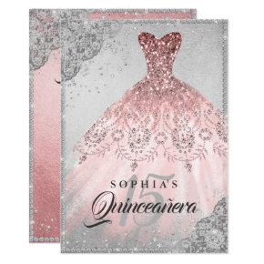Rose Gold Silver Diamond Sparkle Gown Quinceanera Invitations