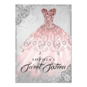 Rose Gold Silver Diamond Sparkle Gown Sweet 16 Invitation
