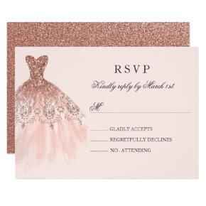 Rose Gold Sparkle Dress Quinceanera RSVP Card