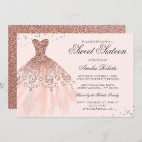 Rose Gold Sparkle Dress Sweet Sixteen Invitation