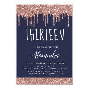 Rose Gold Sparkle Glitter 13th Thirteen Birthday Invitation