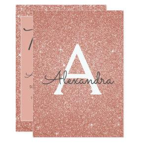 Rose Gold Sparkle Glitter 13th Thirteen Birthday Invitation